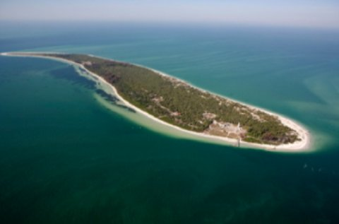 Egmont Key barrier island aerial view