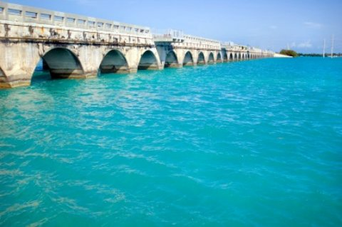 Bridge to Key West over aqua water