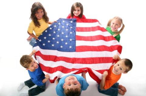 Fernandina Beach Florida and American flag with kids